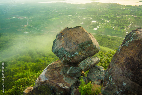 Khao PraYa DernThong Mountain.Lopburi Thailand.Rock on The Mountain in the cloud and fog