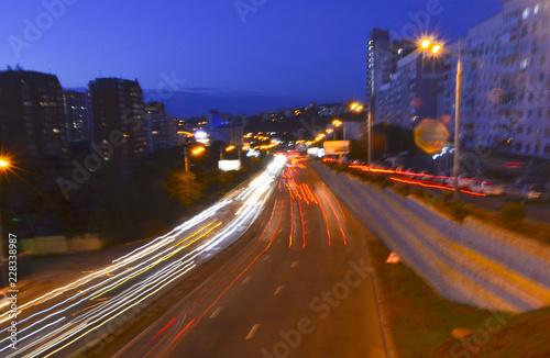 Fotobehang Nacht snelweg Vladivostok, night highway