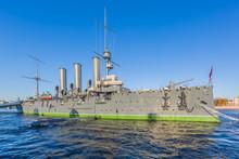 Cruise Aurora, The Symbol Of The October Revolution, Neva River, St Peterburg, Russia.