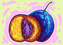 Plum Comic Vector Art. Fruit C...