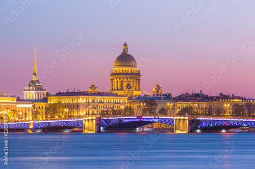 Saint Isaac cathedral and Admiralty building and Neva river at twilight Saint Petersburg, Russia Wallpaper Mural
