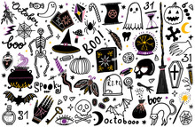 Halloween Vector Illustration Icon Set. Magic Collection