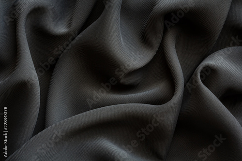 Fotografie, Obraz black fabric with large folds,  abstract background