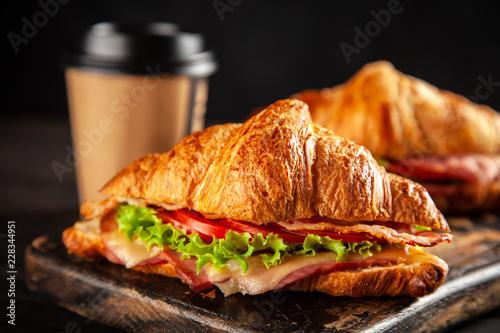 Fotografering Classic BLT croissant sandwiches