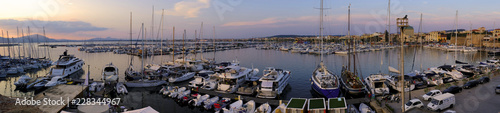 Alghero, Italy - Panoramic view of the Alghero historic quarter and marina Canvas Print