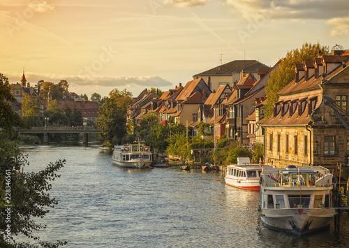 Little Venice quarter on the shore of Regnitz river at Bamberg, Bavaria, Germany