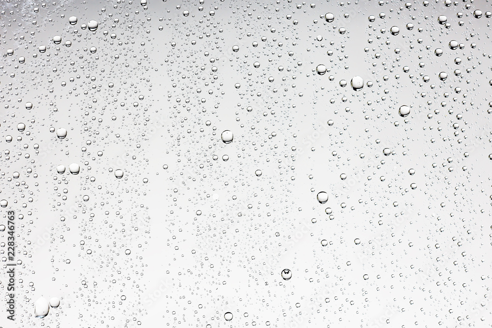 Fototapety, obrazy: gray wet background / raindrops to overlay on the window, weather, background drops of water rain on the glass transparent