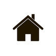 House icon, home symbol, flat design template, black vector illustration