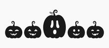 Halloween Pumpkins Jack O Lanterns With Different Faces Icons