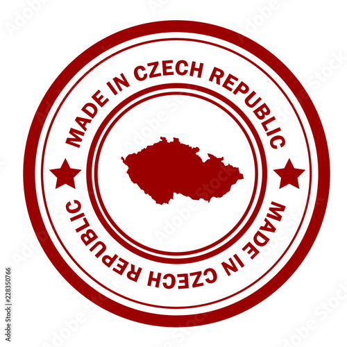 Fotografie, Obraz  Red stamp with map of Czech Republic