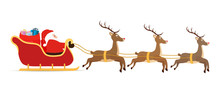 Vector Cartoon Sleigh, Reindee...