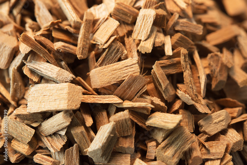 Fototapeta Wood chips for smoking or recycle.