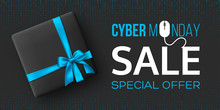 Cyber Monday Sale Horizontal Poster Or Banner For Seasonal Discounts. Black Box With Realistic Silk Blue Bow On Code Background. Sale Concept. Vector Illustration.