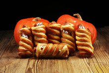 Mummy Sausages Scary Halloween Party Food Decoration Wrapped In Dough.