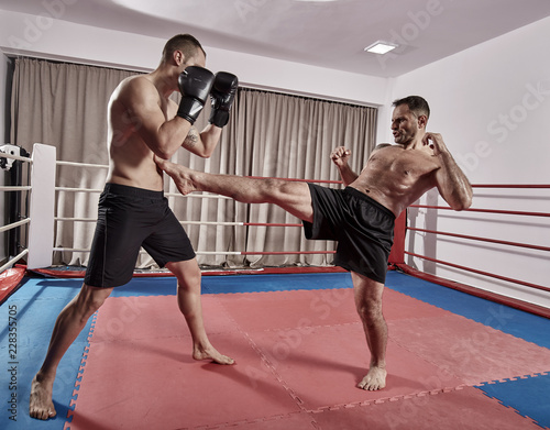 Photo  Muay thai fighters sparring