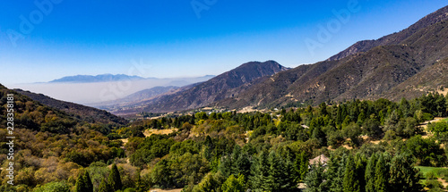 Photo Aerial, drone view of Oak Glen located between the San Bernardino Mountains and