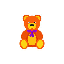 Teddy Bear Baby Toy In Flat Design. Vector Cartoon Illustration.