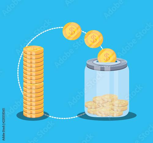 Fototapeta pile of coins dollar with saving bottle obraz