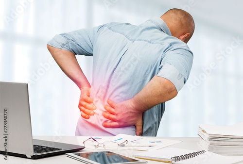 Fotografie, Obraz  Back pain in office back pain office