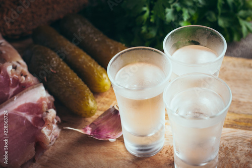 Fotomural Russian drunkenness - vodka and snack - lard, garlic, bread
