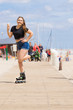 Roller skate woman eating ice cream