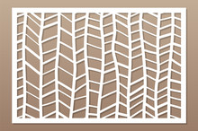 Template For Cutting. Abstract Line, Geometric Pattern. Laser Cut. Set Ratio 2:3. Vector Illustration.