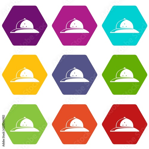 Foto  Cork helmet icons 9 set coloful isolated on white for web