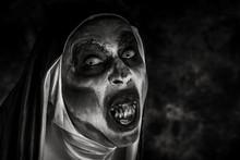Frightening Evil Nun With Bloody Teeth.