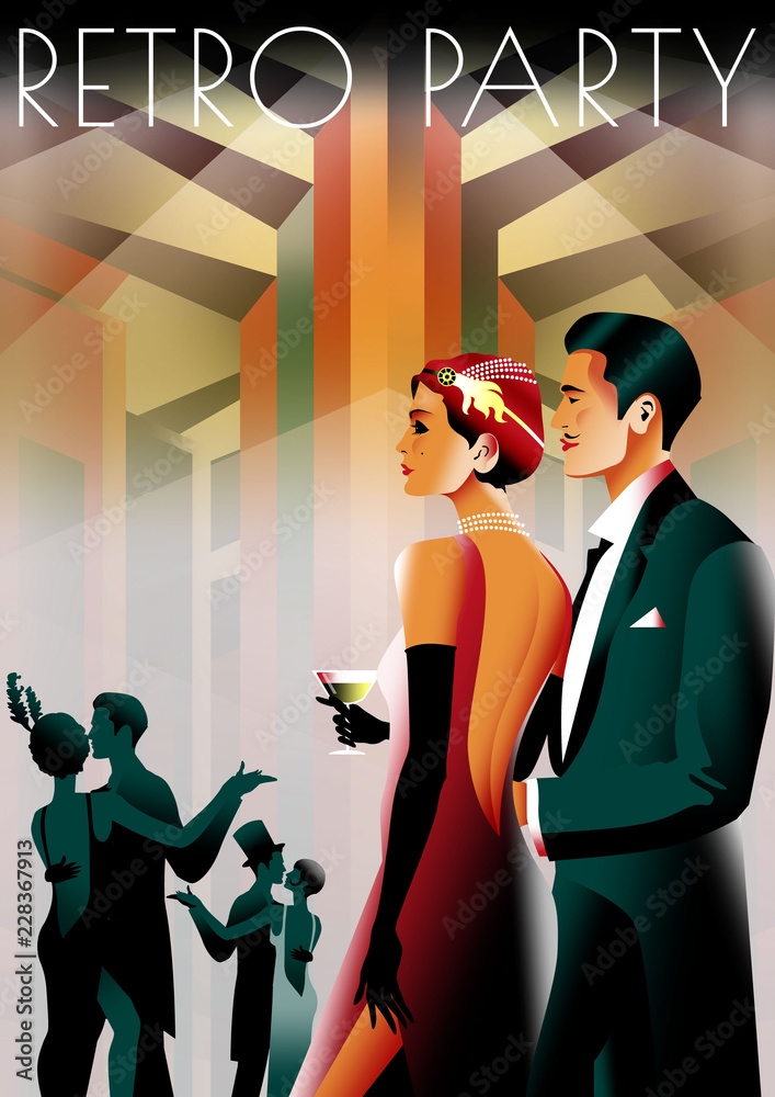 Fototapety, obrazy: Couple at a party in the style of the early 20th century. Retro party invitation card. Handmade drawing vector illustration. Art Deco style.