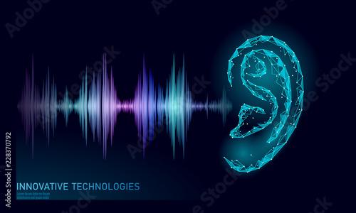 Sound recognition voice assistant low poly Fototapet