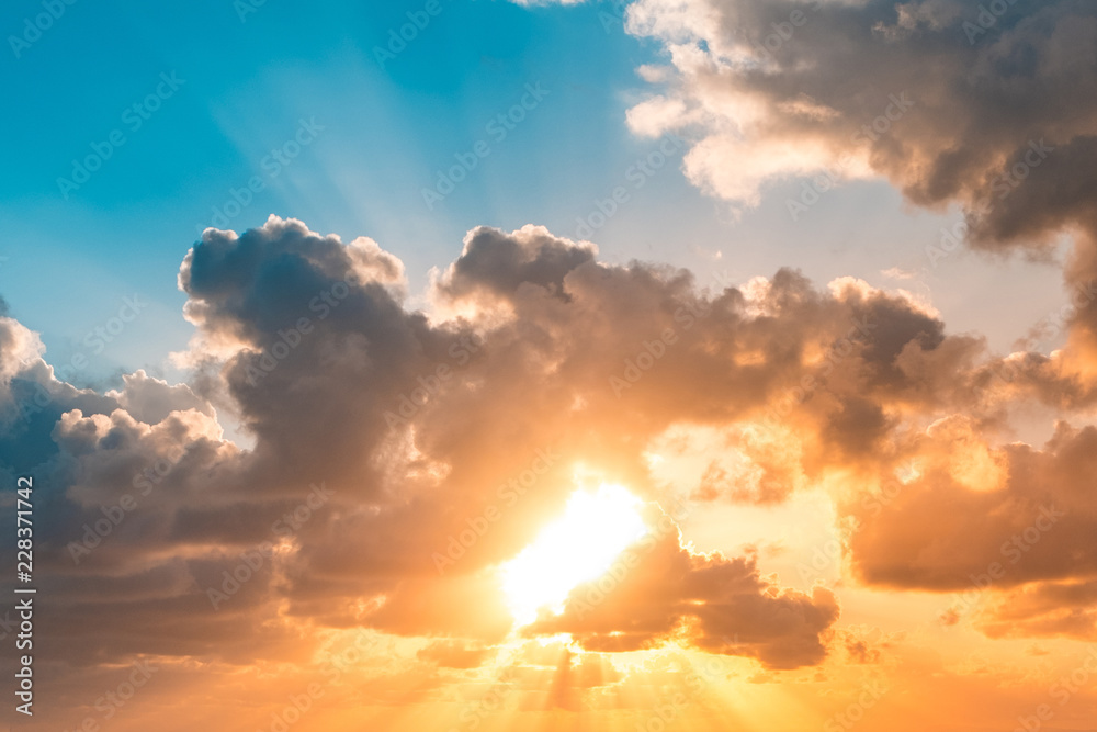 Fototapety, obrazy: sunset sky - sun shining through clouds scenic sky