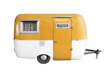 Vintage Caravan Or Camper Trailer Isolated On White