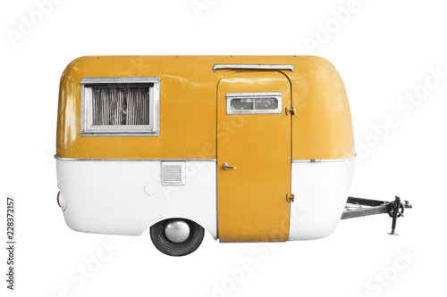 vintage caravan or camper trailer isolated on white Canvas