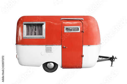 Photographie vintage caravan or camper trailer isolated on white