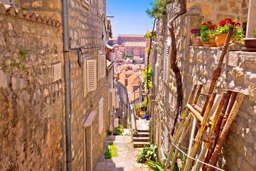 Fototapeta Dubrovnik steep narrow street view
