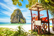 Tropical beach and lifeguard tower in Thailand