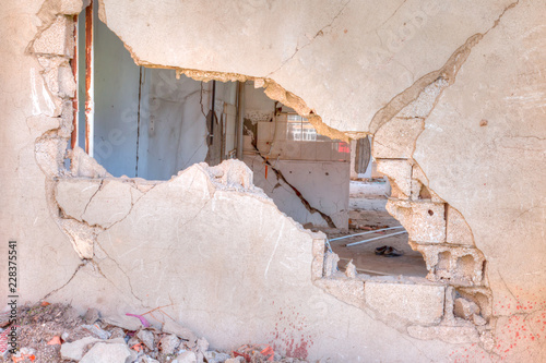Destroyed building, can be used as demolition, earthquake - 2011 October Van E Fototapeta