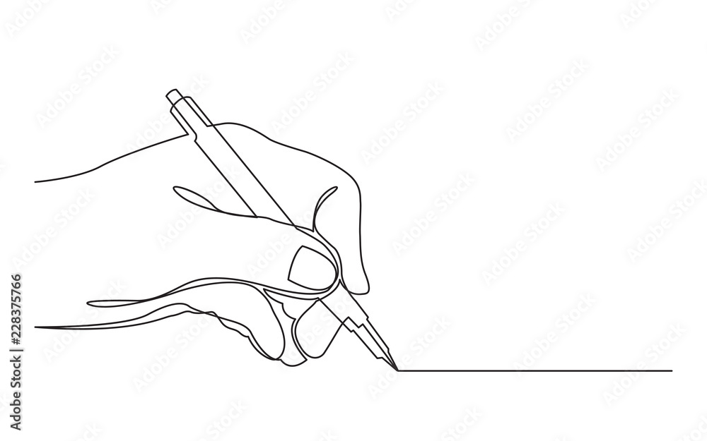 Fototapeta continuous line drawing of hand drawing line with pen