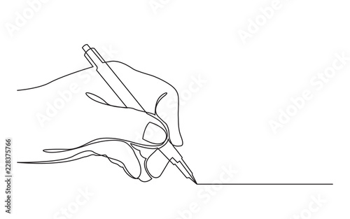 Photo continuous line drawing of hand drawing line with pen