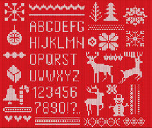 Set Of Knitted Font, Elements ...