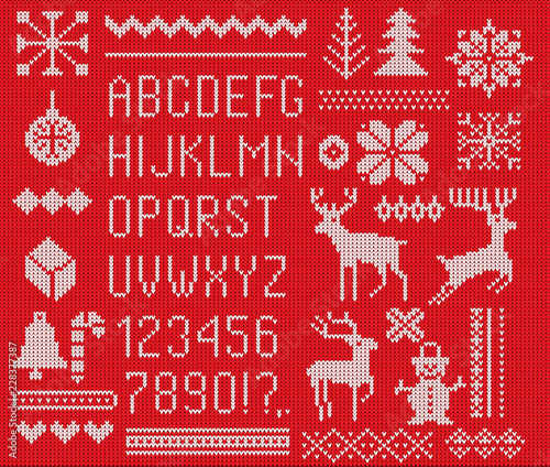Set Of Knitted Font Elements And Borders For Christmas New Year Or
