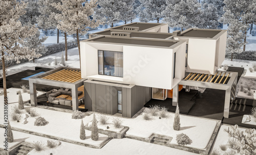 Foto op Canvas Drawn Street cafe 3d rendering of modern cozy house with garage and garden. Cool winter day with shiny white snow. For sale or rent with beautiful white spruce on background