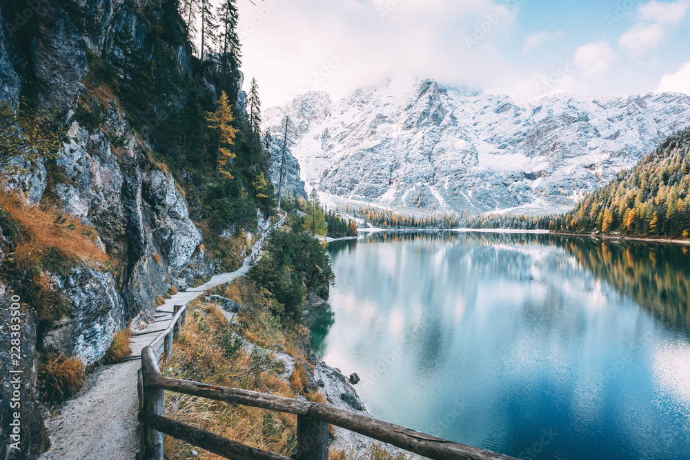 Great alpine lake Braies (Pragser Wildsee). Location place Dolomiti, national park Fanes-Sennes-Braies, South Tyrol, Italy.