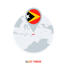 East Timor Map And Flag, Vecto...