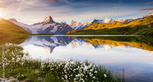 Great view of Bernese range above Bachalpsee lake. Location Swiss alps, Grindelwald valley.