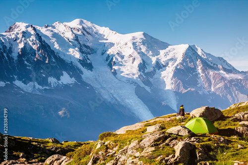 Aluminium Prints Blue Views of the Mont Blanc glacier with Lac Blanc. Location Nature Reserve Aiguilles Rouges.