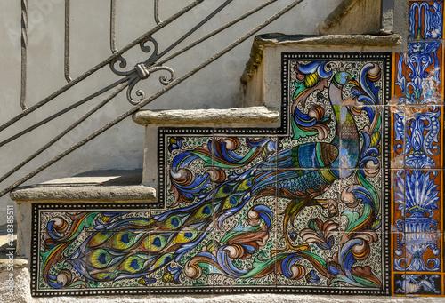 Piastrelle Di Ceramica Decorate.Dettaglio Di Una Scala Decorata Con Piastrelle Di Ceramica