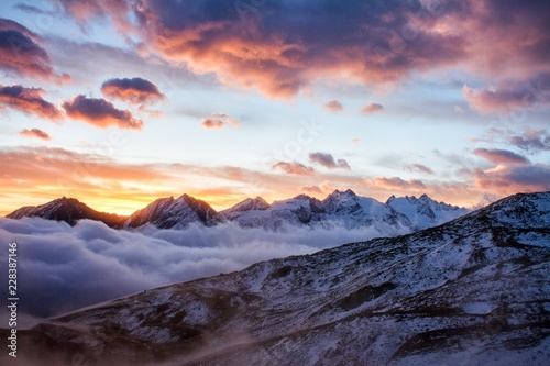 Canvas Prints Mountains Great view of the foggy valley in Gran Paradiso National Park, Alps, Italy, dramatic scene, beautiful world. colourful autumn morning,scenic view with cloudy sky, majestic dawn in mountain landscape