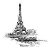 Fototapeta Fototapety z wieżą Eiffla - Eiffel tower. Paris, France. Hand drawn illustration.