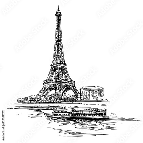 Obraz Eiffel tower. Paris, France. Hand drawn illustration. - fototapety do salonu